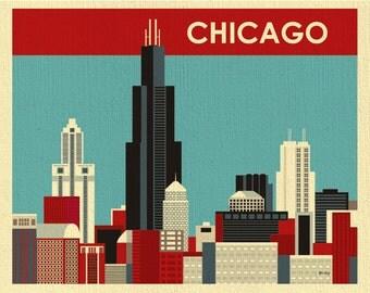 Chicago Skyline Art Print, Chicago Wall Art, Chicago Boyfriend Art Gift, Chicago Travel Poster, Chicago Wedding Artwork, style E8-O-CHI2