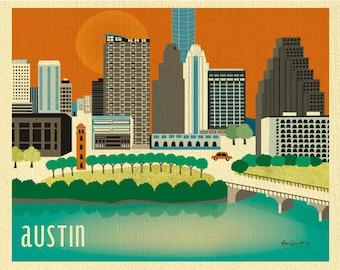 Austin Skyline Art Print, Austin Map,  Austin poster, Texas Poster, Austin Nursery Art, Loose Petals Texas City Art Print - style E8-O-AU