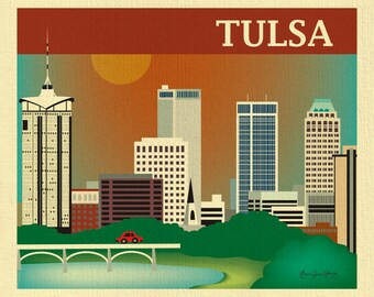 Tulsa Skyline Art Print, Oklahoma State Art, Tulsa Map, Tulsa Oklahoma  horizontal art, Tulsa Baby Art, Loose Petals Print - style E8-O-TUL