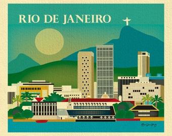 Rio De Janeiro Skyline Art Print, Rio De Janeiro Brazil Artwork, Horizontal Rio illustration, Brazilian Art, Rio City Print - style E8-O-RIO