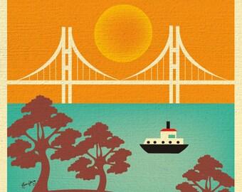 San Francisco Art, San Francisco Skyline,  San Francisco Wall Art, San Francisco Poster, San Francisco Map Print, Vertical,  style E8-O-SF14