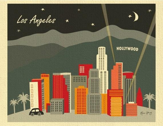 Los Angeles Skyline Art Print, Hollywood Wall Art, LA Art Print, 8x10 art gifts, Los Angeles wall decor, Loose Petals black style E8-O-LA1