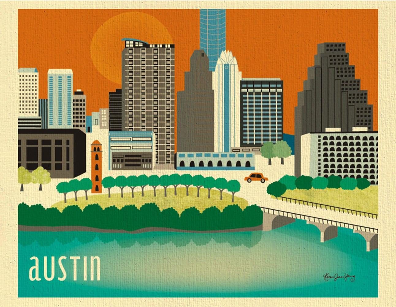 Color printing austin - Austin Skyline Art Print Austin Map Austin Poster Texas Poster Austin Nursery Art Loose Petals Texas City Art Print Style E8 O Au
