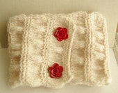 Cream knitted Cowl, Cozy Collar, Cream Neck Warmer, Cream Knitted Scarf, Winter Fashion 2015