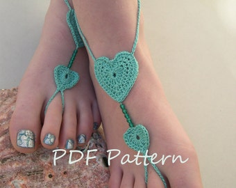 Crochet Barefoot sandals pattern - Crochet Barefoot sandles pdf pattern - bridesmaid foot jewelry pattern - English and French PDF TUTORIAL