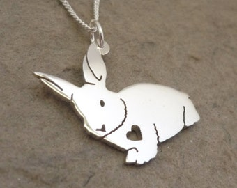 Fluffy Bunny Sterling Silver Pendant on Chain