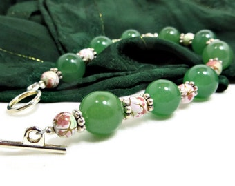 Green Aventurine and Multi-colored Glass Beads Bracelet