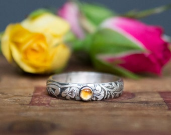 Sterling Silver Gemstone Ring - Birthstone Ring - Floral Band - Stacker - Sterling Silver Engagement Ring - Unique Engagement Ring