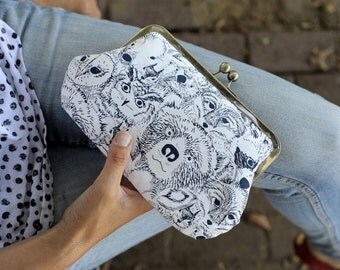 clutch bag. kiss lock purse. day bag.  wild animals clutch purse. cosmetic bag