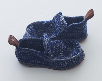 Sale - Children House Shoes in blue and gray mix with grey trim - Children U.S. sizes 8-9 EUR 25-26-27 - 20% off