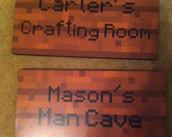 "Minecraft Inspired Wooden Signs - 8 "" x 16"" - Wood  backer"