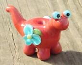 Coral Teal Flowers Dino Dinosaur Lampwork Glass Handmade SRA Artisan Bead NLC Beads leteam