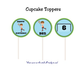 Lacrosse cupcake toppers -- lacrosse birthday party lacrosse