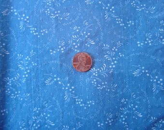 Dollhouse fabric blue & white floral fat quarter miniature 1:12 scale