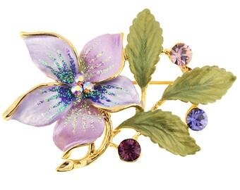 Purple Flower Swarovski Crystal Pin Brooch 1011353