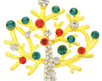 Golden Multicolor Christmas Tree Crystal Pin Brooch 1002622