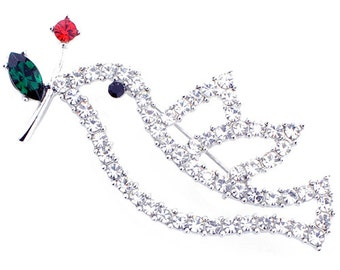 Crystal Dove With Red Rose Bird Pin Brooch 1002462