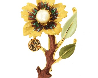 Topaz Brown Flower Swarovski Crystal Pin Brooch 1010611