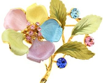 Multicolor Flower Swarovski Crystal Pin Brooch 1011344