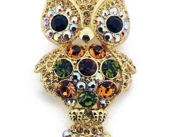 Golden Multicolor Owl Swarovski Crystal Pin Brooch 1011431