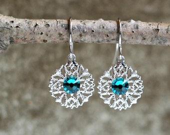 Silver Filigree Earrings with Teal Blue Swarovski Crystal Rhinestones