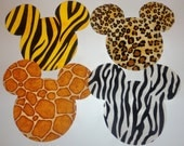 Iron On Applique ANIMAL Kindom Print MICKEY Or MINNIE Mouse Appliques