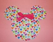 Iron On Applique Colorful Rainbow Hearts On White MINNIE MOUSE With Pink Bow