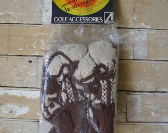 Vintage Knit Golf Club Head Covers Mens  Made In the USA Wisconsin Unused