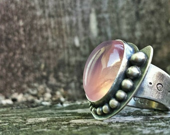 Rose Quartz Sterling Silver Ring size 5.5