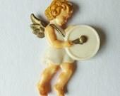 Vintage Christmas ornament angel ornament with drum ornament plastic ornament