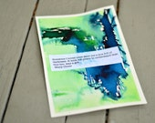 Original watercolor painting - Mary Oliver quote - Mixed media - blue green - art card - quotes - box full of darkness...gift