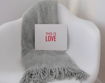 This Is Love Screen Printed Poster - Red - Typography - Sweet and Romantic - 10 x 8
