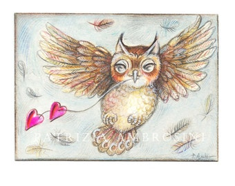 Original ACEO OWL with hearts  Original Painting- Watercolor- Card -collectible- fine art -OAKK