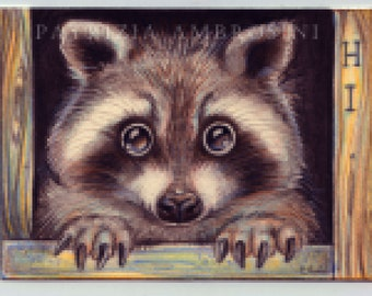Original ACEO.. RACCOON No.2   Original Painting- Watercolor- Card -collectible- fine art - children art - woodland - nursery