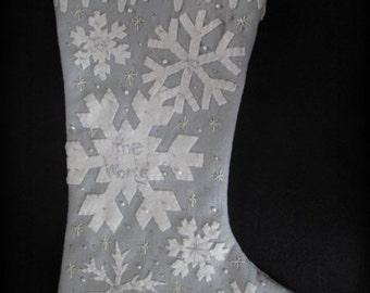 White Christmas Snowflake Stocking E-PATTERN by cheswickcompany