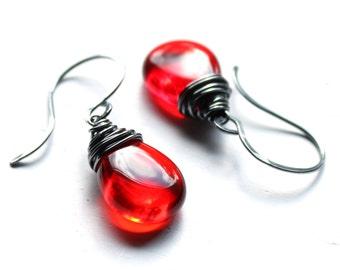 Red Glass Earrings, Oxidized Sterling Silver Wire Wrapped Czech Glass Flat Teardrop, Handmade Sterling Silver Earwires