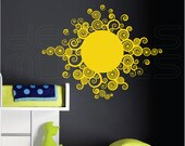 Wall decals CURLY SUN Vinyl art interior decor for walls by Decals Murals (29x37)