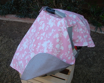 Baby Car Seat Canopy - Baby Car Seat Cover - Pink Car Seat Canopy - Grey Car Seat Canopy - Girls Car Seat Cover - Baby Shower Gift