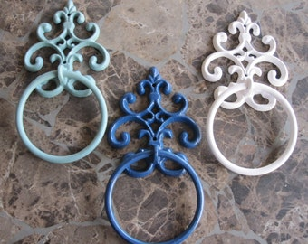 Towel Ring/ Custom Colors/ Bathroom Accessory/ Cast Iron Towel Holder/ Cottage Chic Towel holder ring/ Bathroom towel holder