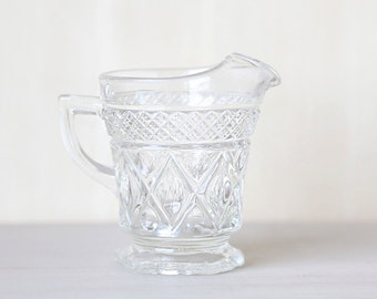 Intricate Cut Crystal Small Creamer Serving Cup Vintage Chic Home Decor