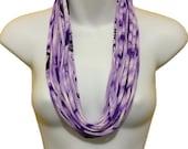 Multi Strand Infinity Scarf Necklace Purple White & Black