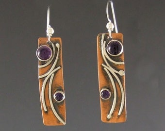 Copper and Sterling Scroll Rectangle earrings with two stones, Regina Marie Designs