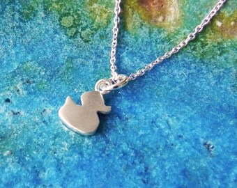 Rubber duck necklace in sterling silver babyshower gift - stocking stuffer gift for girl cute ducky necklace pendant- Christmas gift