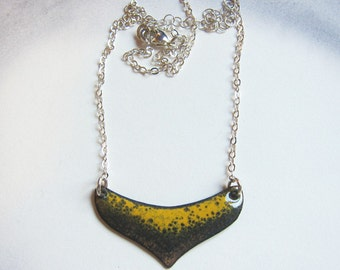 Gray and yellow crescent necklace Unique enamel heart pendant necklace Modern minimalist enameled copper jewelry Sterling silver