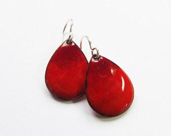 Red teardrop dangle earrings Small enamel drop earrings Minimalist modern enamel jewelry