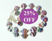 RESERVED NOW 25% OFF  -Multicolor Howlite and Crystal Bracelet with Gold Filled Clasp