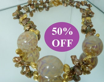 50% OFF - Organic Globes Necklace featuring borosilicate beads by TodMBrown