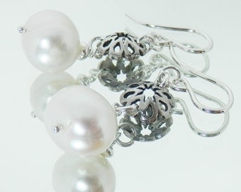 White Pearl and Sterling Silver Link Earrings on Sterling Silver Ear Wires