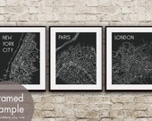 New York, Paris and London (City Maps) Set of 3 - Art Prints (Featured in Black) Metro City Maps