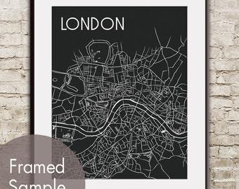 London Map Art Print - Modern Artist Sketch (featured in Black)  London Street Map / Metro Retro Art Prints